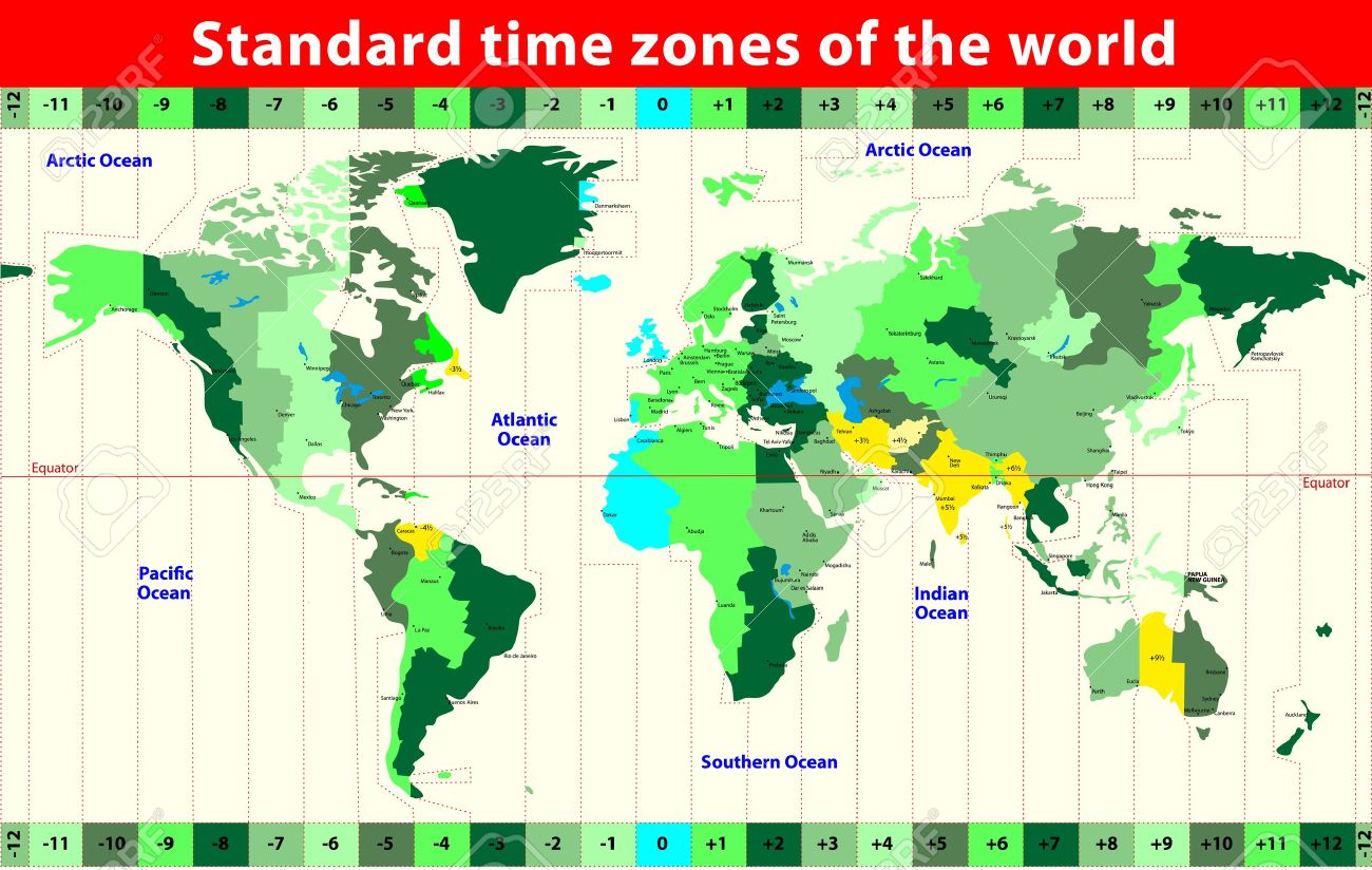 USA Time Zone Map With States With Cities With Clock With Time - Map of us time zones