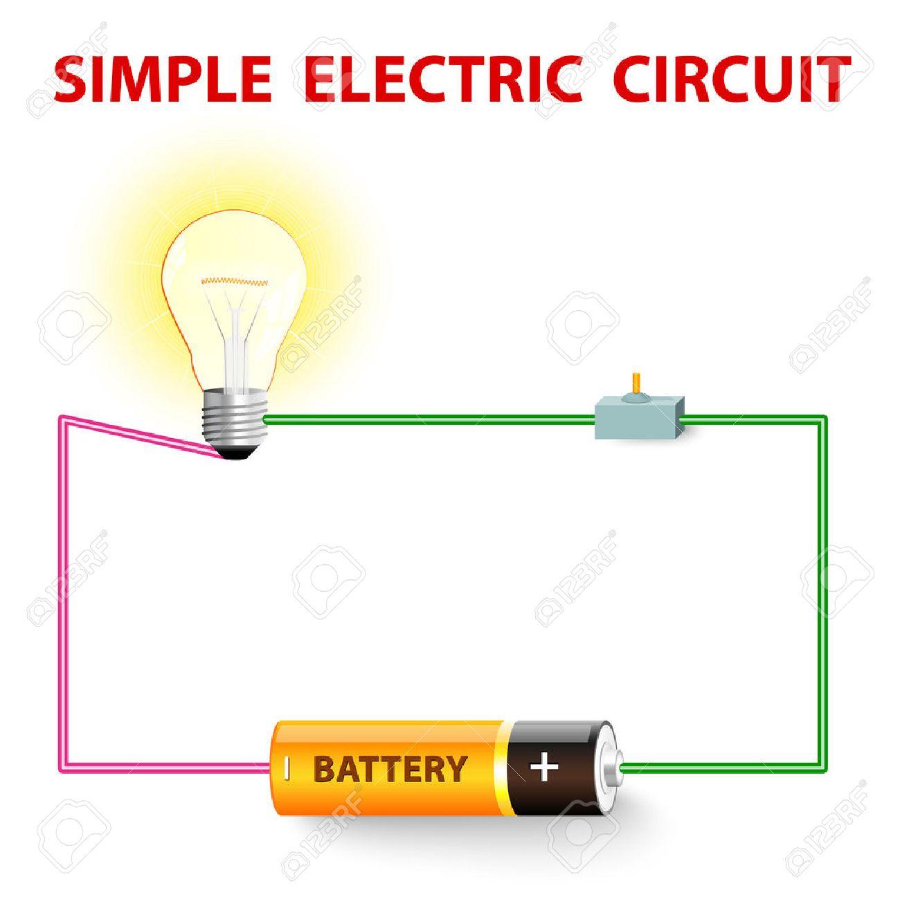 Ein Einfacher Stromkreis. Elektrisches Netz. Schalter, Glühbirne ...