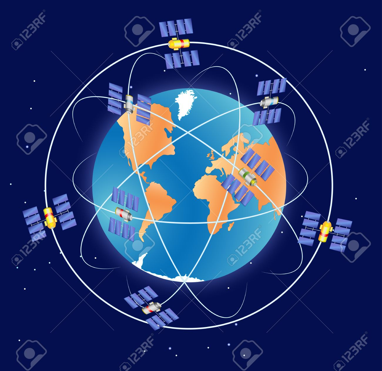 gps satellite in earth orbit global positioning system royalty free
