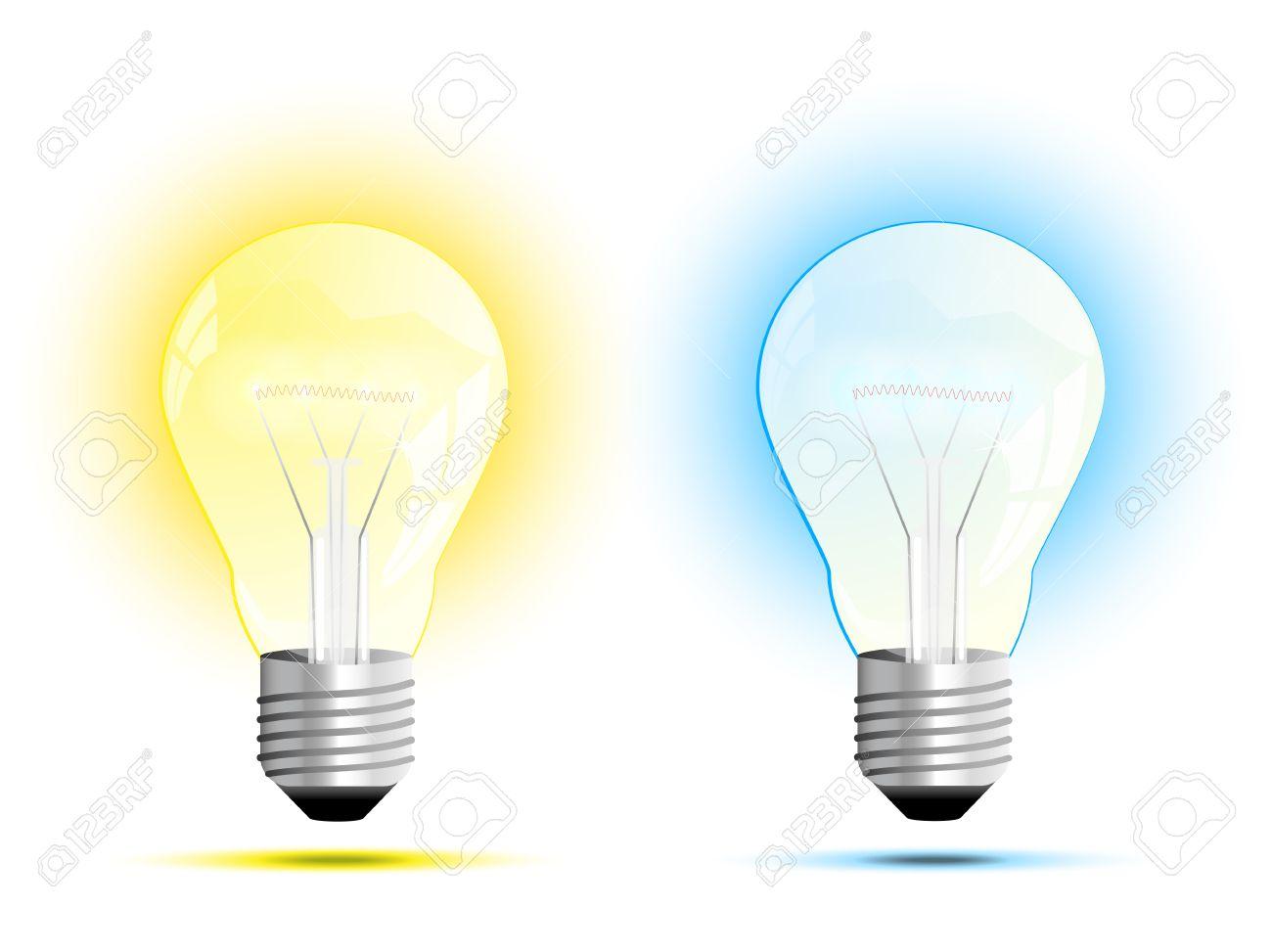 Warm White Light Bulbs: Incandescent light bulb warm white and cool white light vector illustration  Stock Vector - 28517192,Lighting