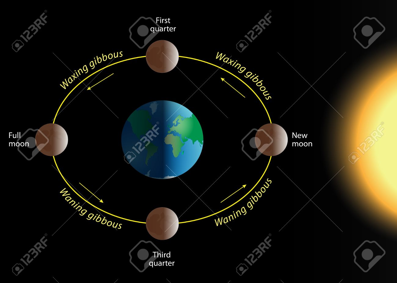 Phase of the moon the relation of the phases of the moon with phase of the moon the relation of the phases of the moon with its revolution around pooptronica Choice Image