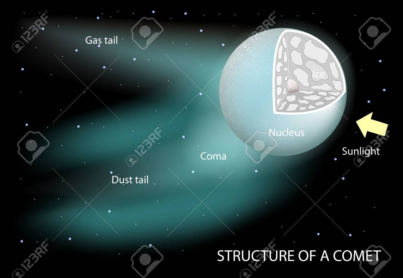 structure of a comet diagram showing the nucleus, coma and tails  diagram for comet #14