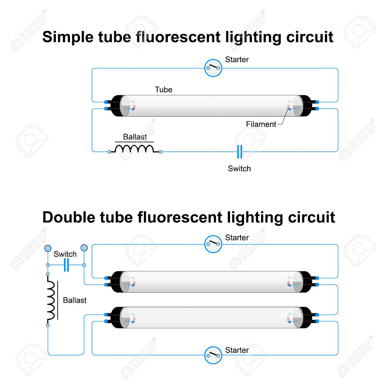 single and double tube fluorescent lighting circuit simple vector rh 123rf com T8 Ballast Wiring Diagram T8 Ballast Wiring Diagram