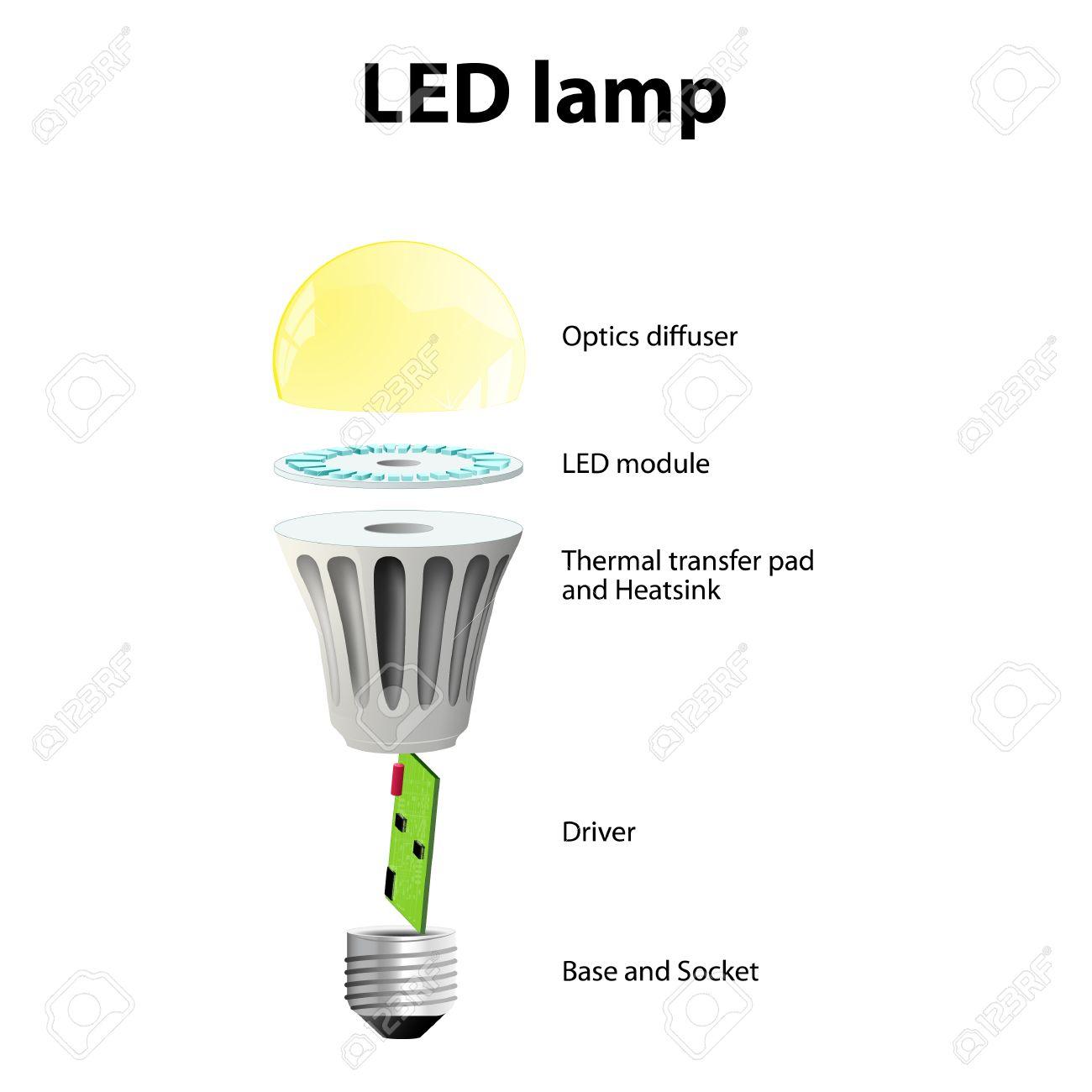 Diagrama Que Muestra Las Partes De Una Lámpara LED Moderna ...