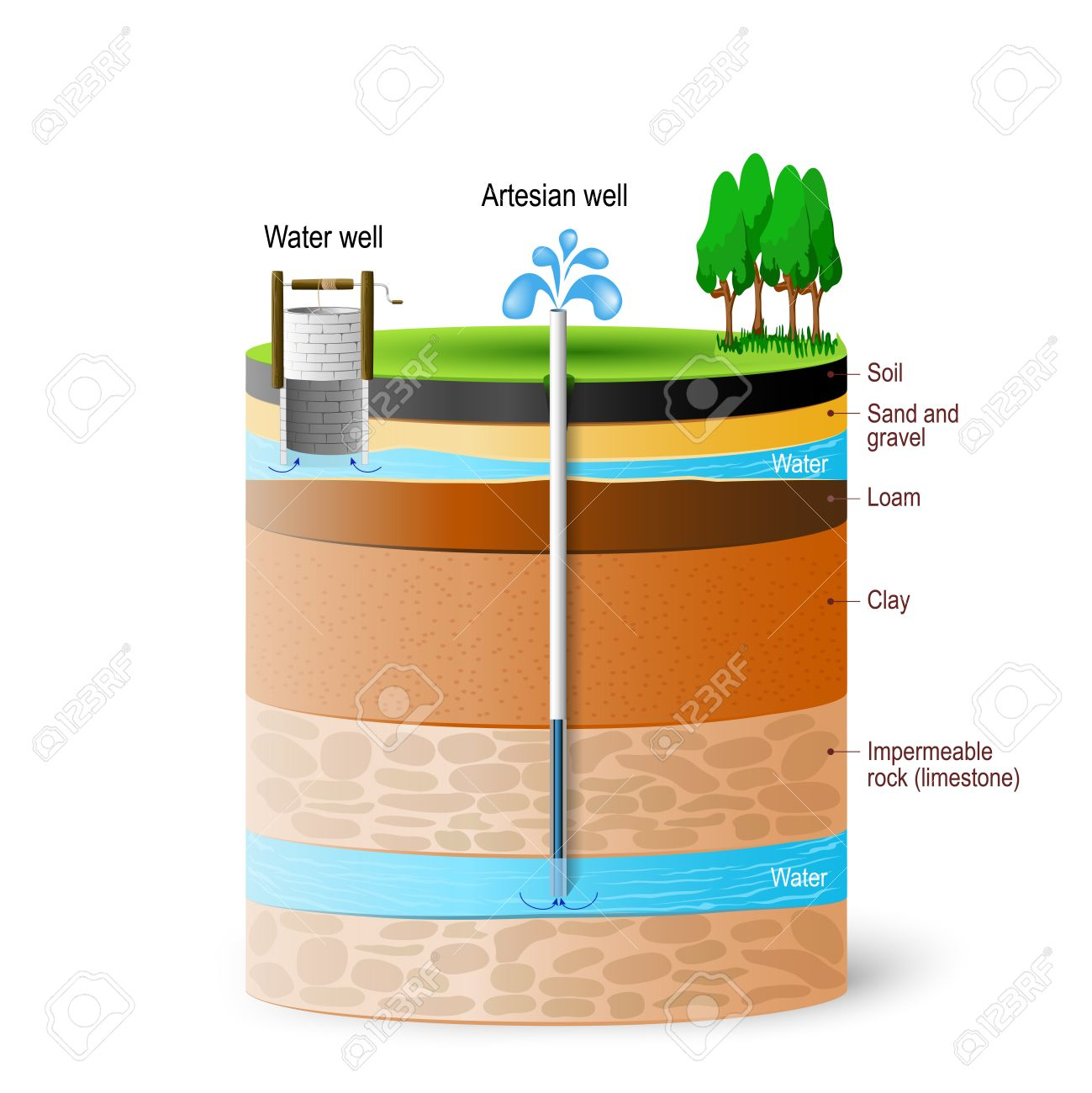 Artesian water and Groundwater. Schematic of an artesian well. Typical aquifer cross-section. Vector diagram - 79443732