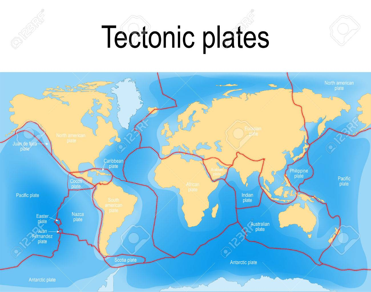 Plate Tectonics Map. Major An Minor Plates. Vector Illustration ...