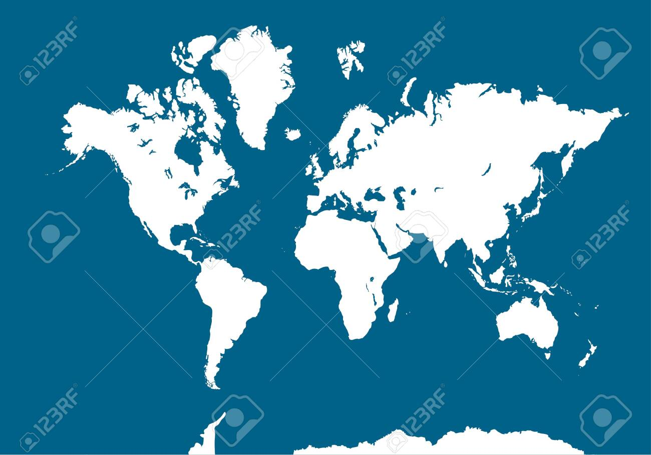 World Map On Blue Background Blank White Worldmap Vector Illustration Royalty Free Cliparts Vectors And Stock Illustration Image 132599587