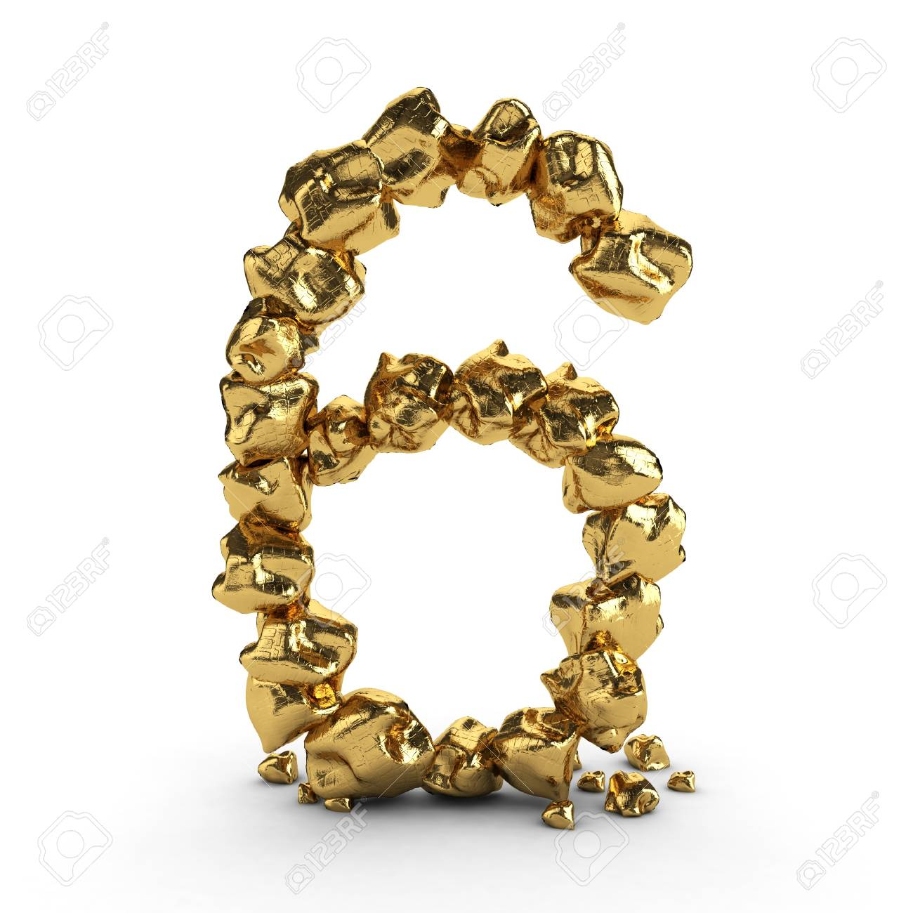 golden number 3d rendered isolated Stock Photo - 11242493