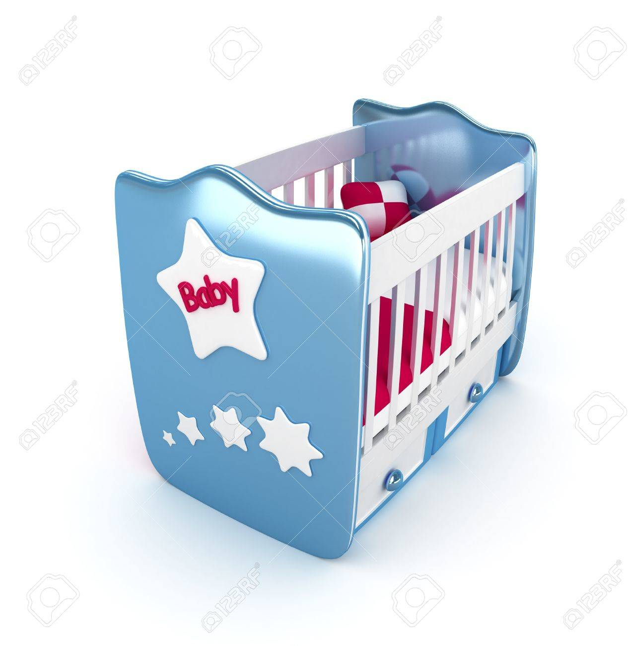 High res. Blue crib isolated 3D Rendered Stock Photo - 11446995