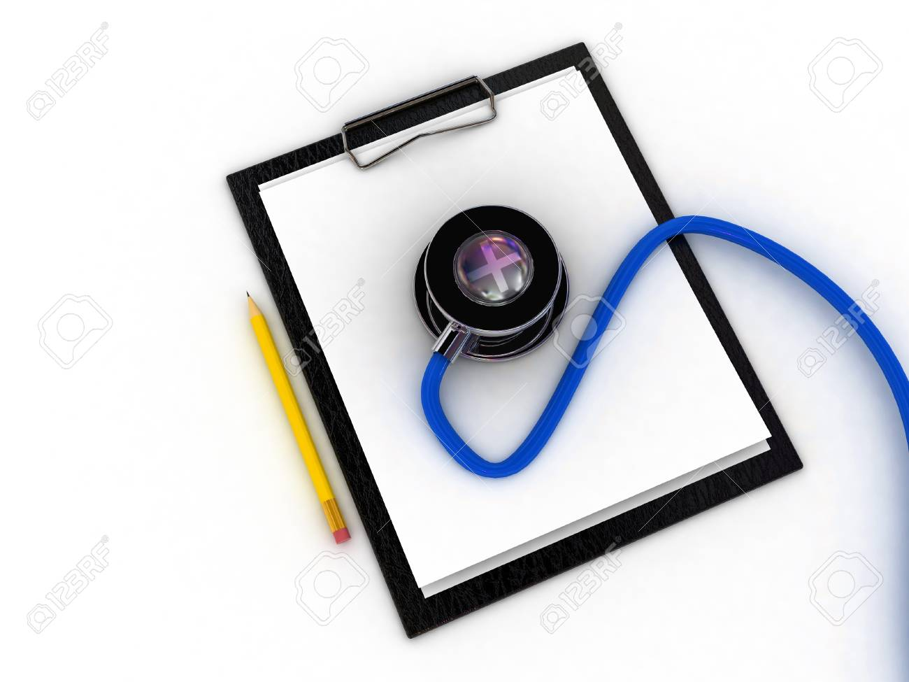 Medical clipboard and stethoscope isolated on white background Stock Photo - 11447899