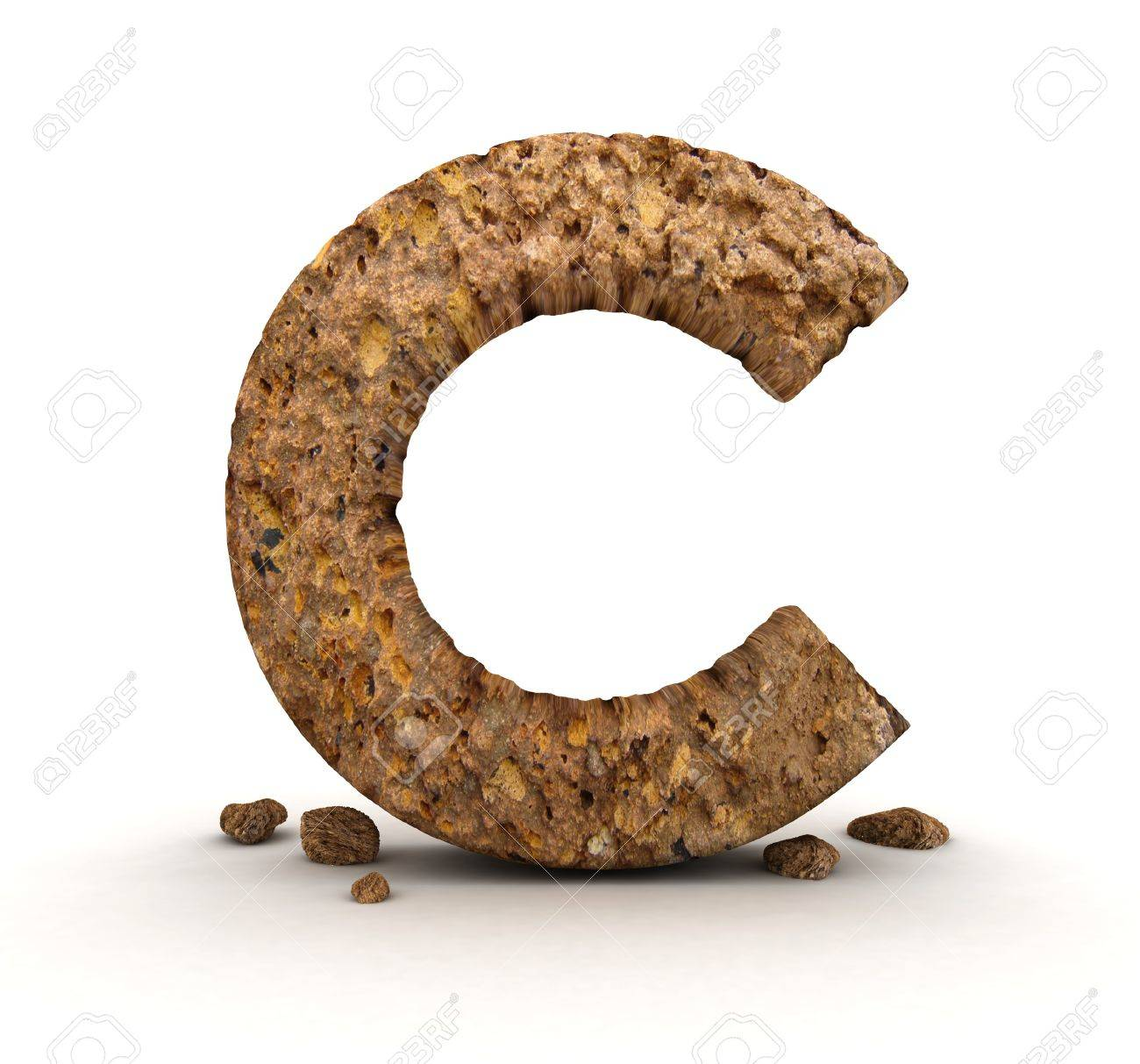 3D Letter of Stone Alphabet Isolated Stock Photo - 11979882