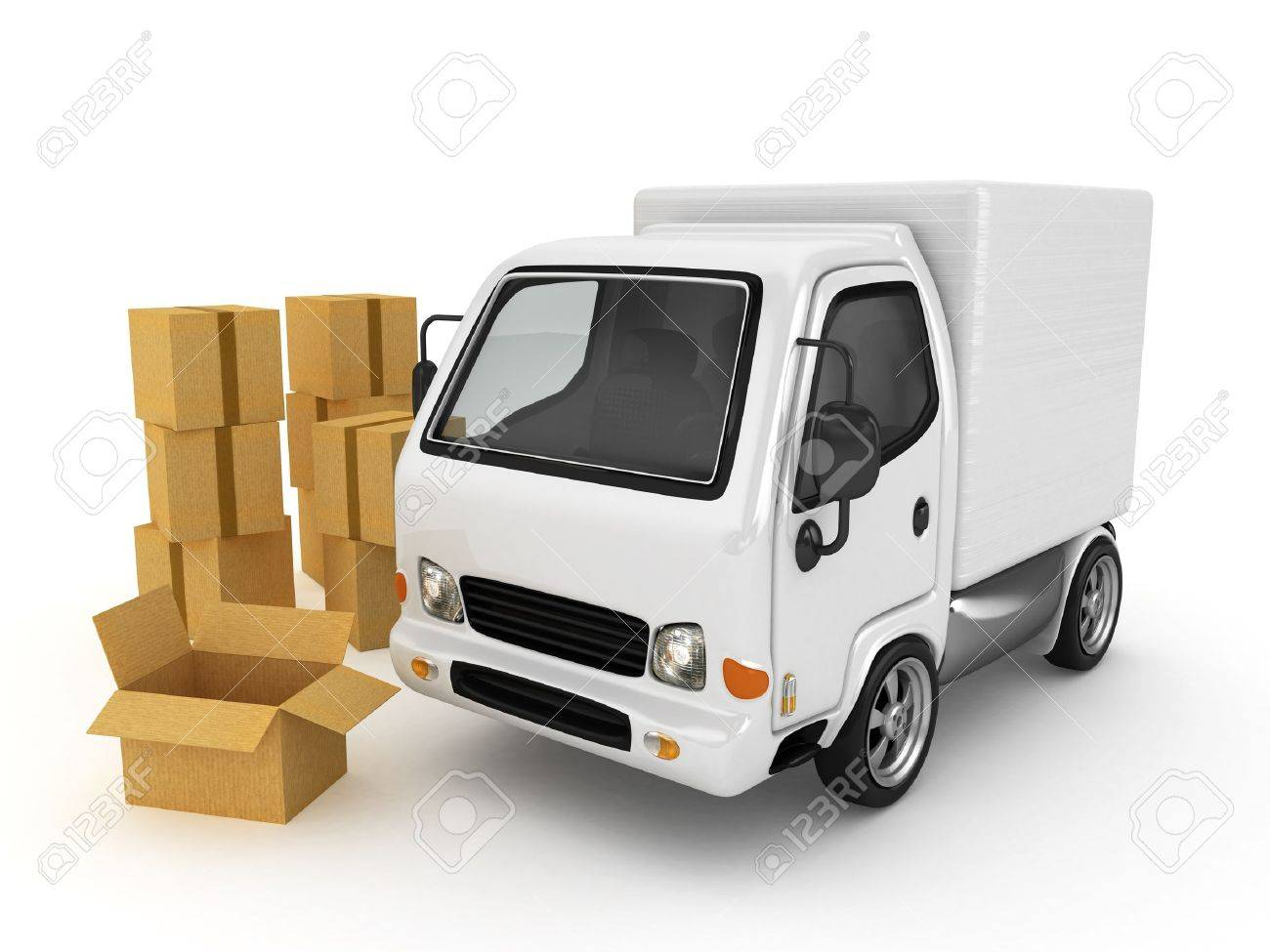 3D White Van with cardboard boxes isolated Stock Photo - 11979903