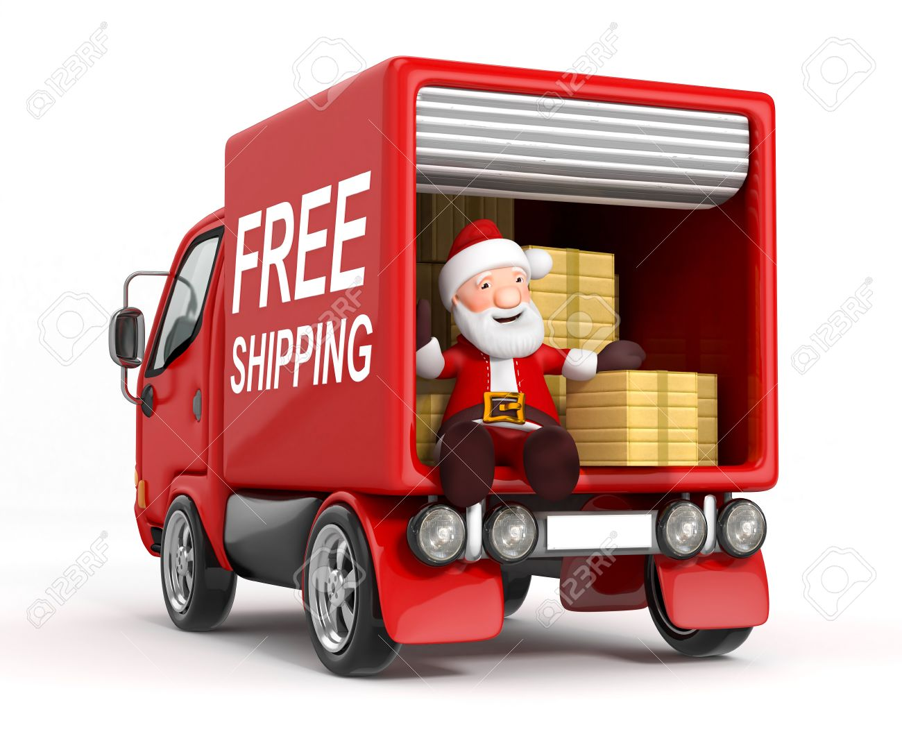 3d cartoon santa claus in truck with cardboard box stock photo