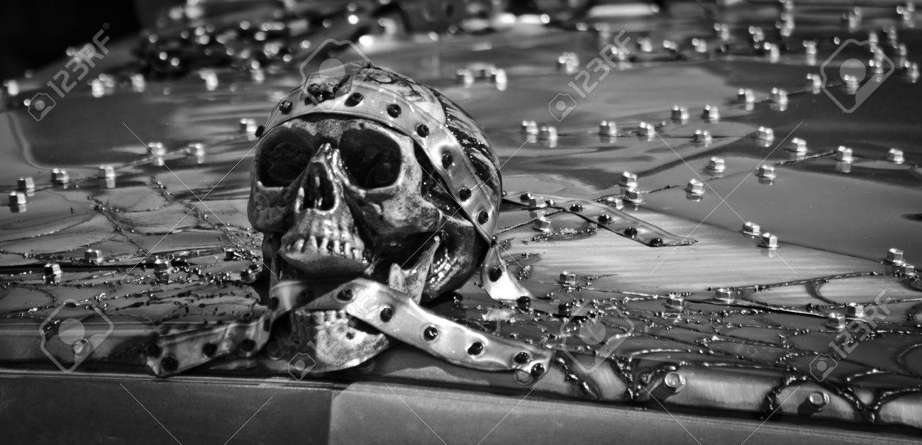 Gothic skull twisted metal hood ornament in black white