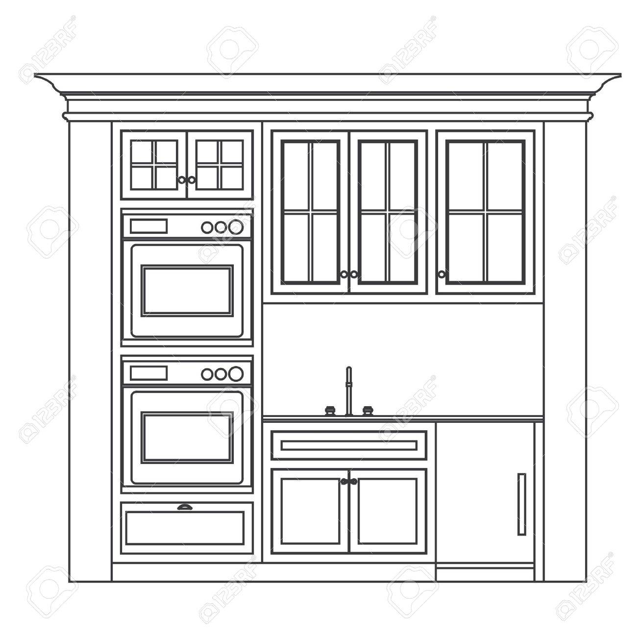 Kitchen Elevation Line Drawing Cabinets Drawers Appliances