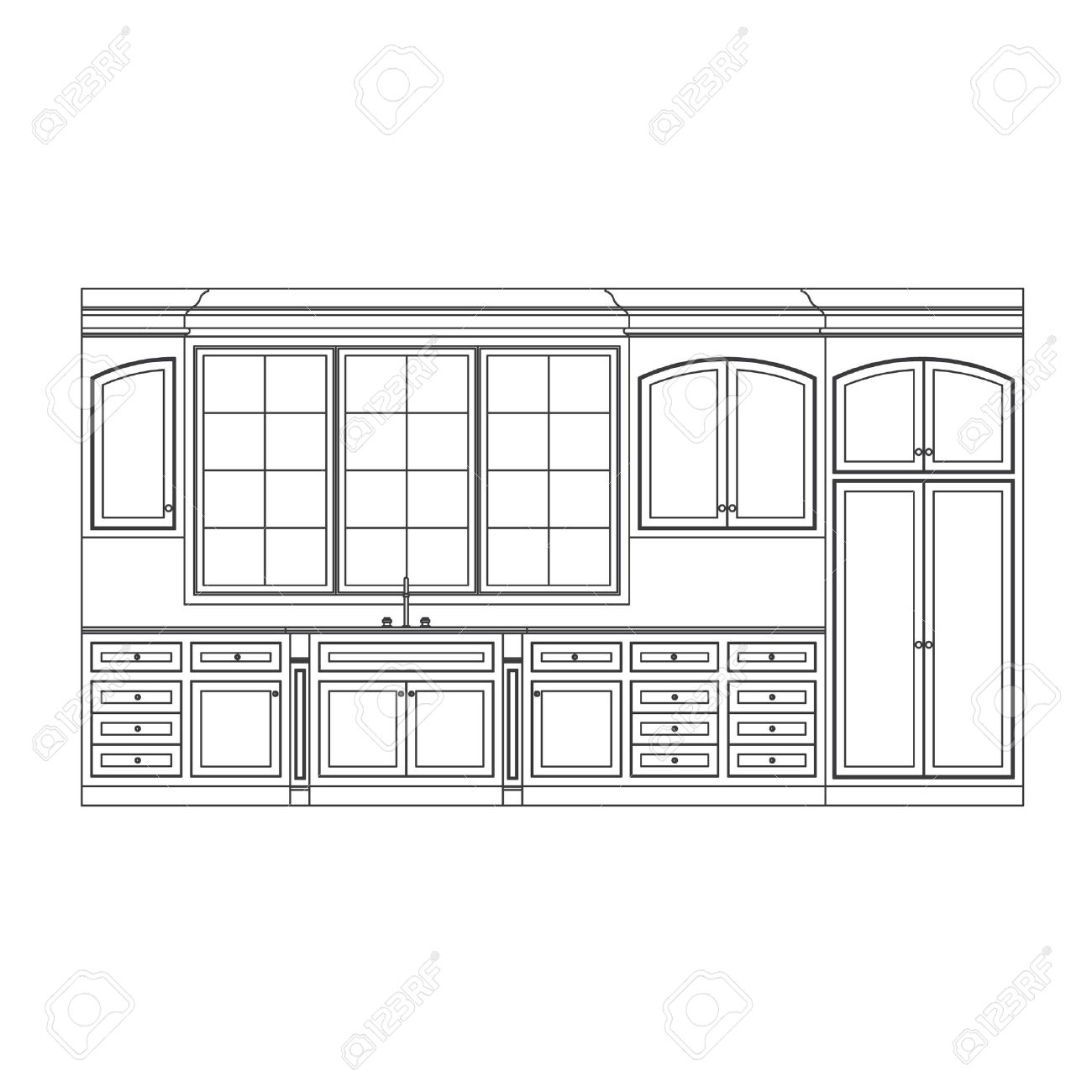 Kitchen Elevation Line Drawing, Cabinets, Drawers, Appliances Stock Vector    6959792
