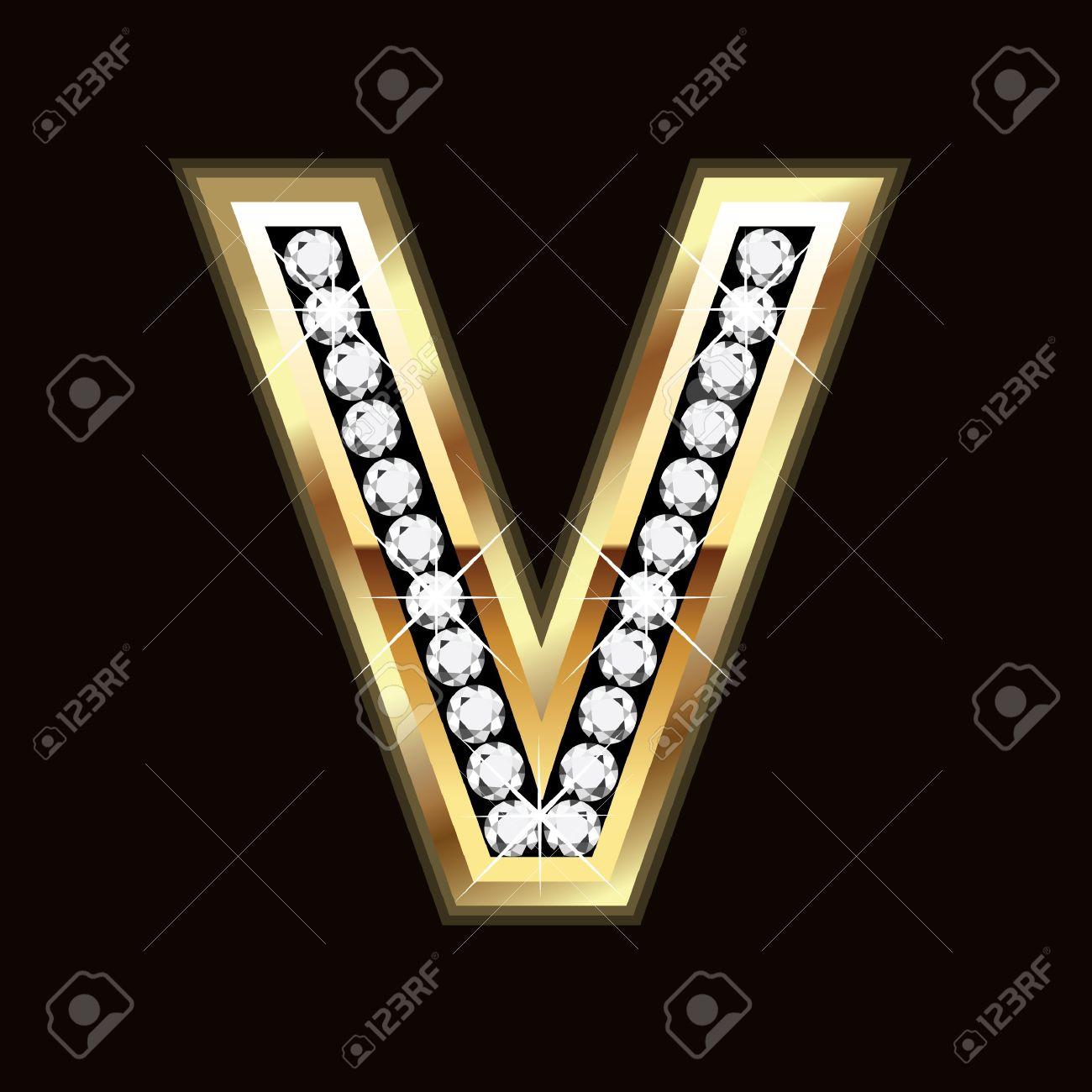v letter bling bling Stock Vector - 9757960