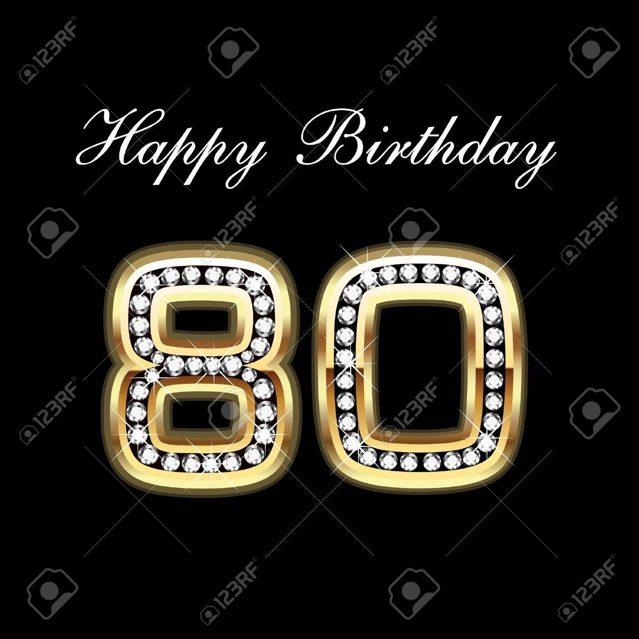 80th birthday borders and frames 80th birthday card - 80th Happy Birthday Stock Vector 10837030