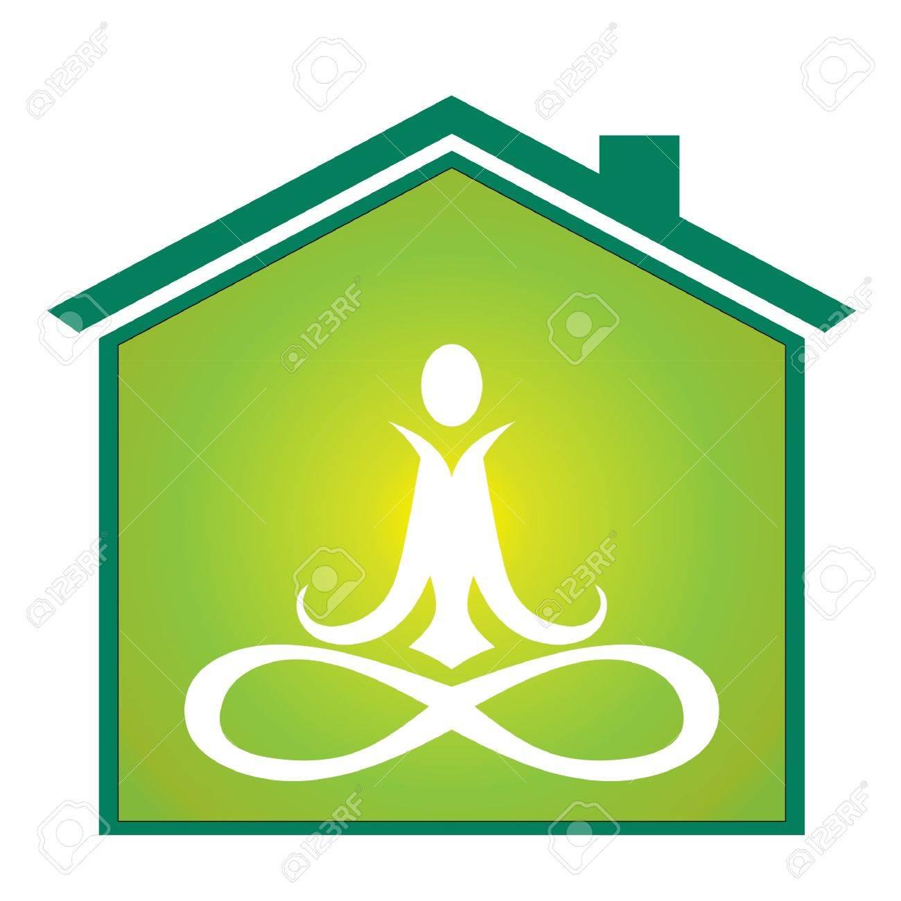 Yoga inside house Stock Vector - 11020688