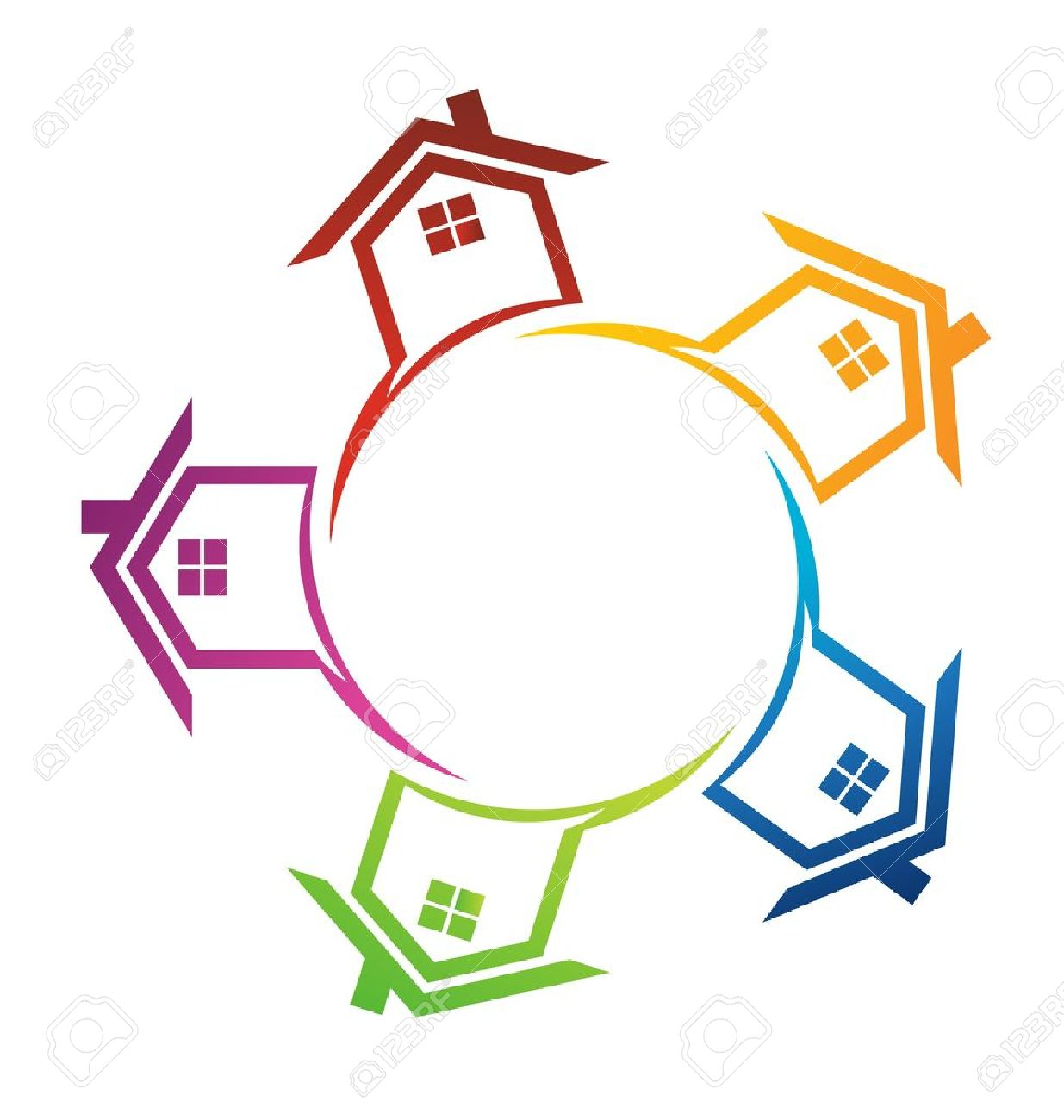 Group of houses in circle Stock Vector - 13144241