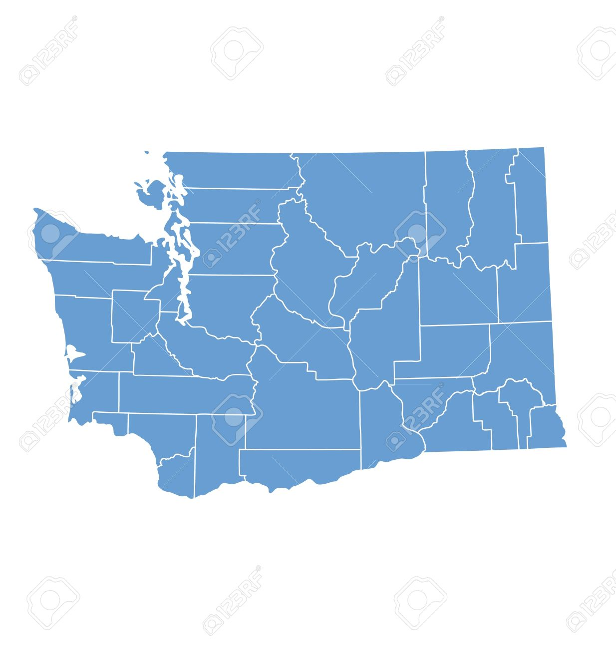 Counties Washington State Map.Washington State Map By Counties Royalty Free Cliparts Vectors And