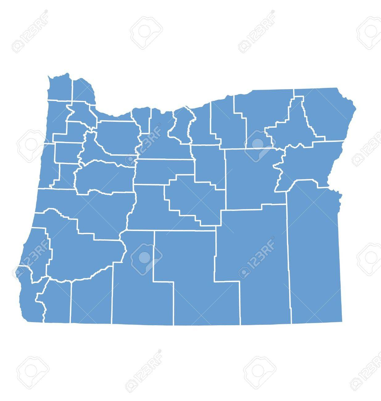 Oregon State Map With Counties.Oregon State Map By Counties Royalty Free Cliparts Vectors And
