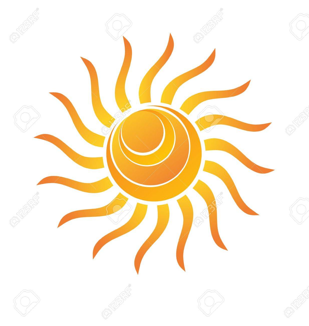 Yellow Shiny Sun with rays and circle waves Stock Vector - 13487320