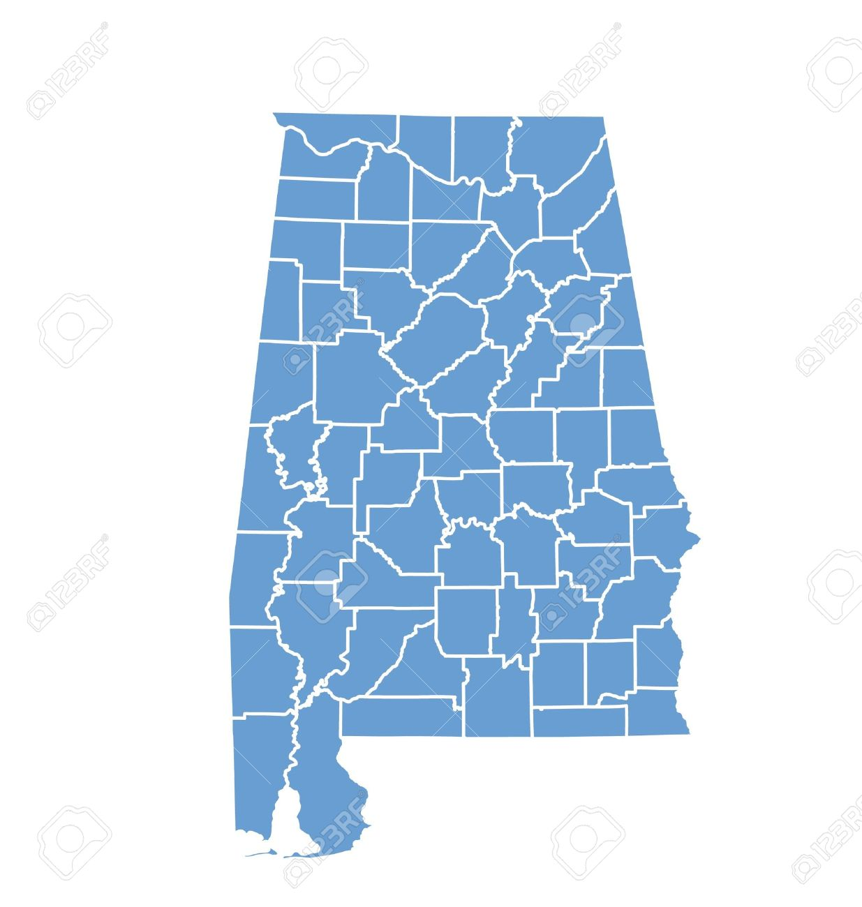 State Map Of Alabama By Counties Royalty Free Cliparts Vectors - Maps of alabama counties