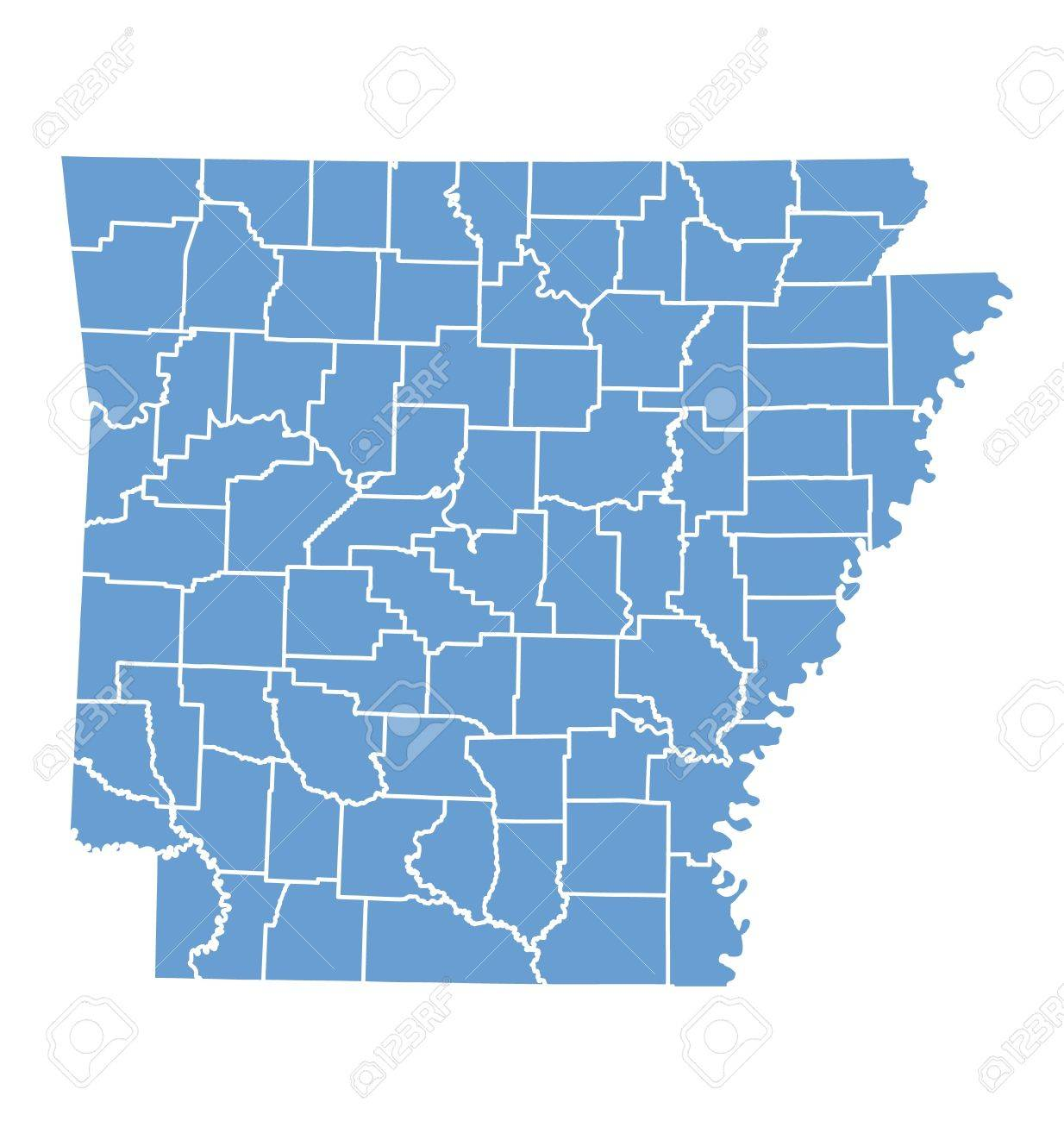 State Map Of Arkansas By Counties Royalty Free Cliparts Vectors - Map of arkansas counties