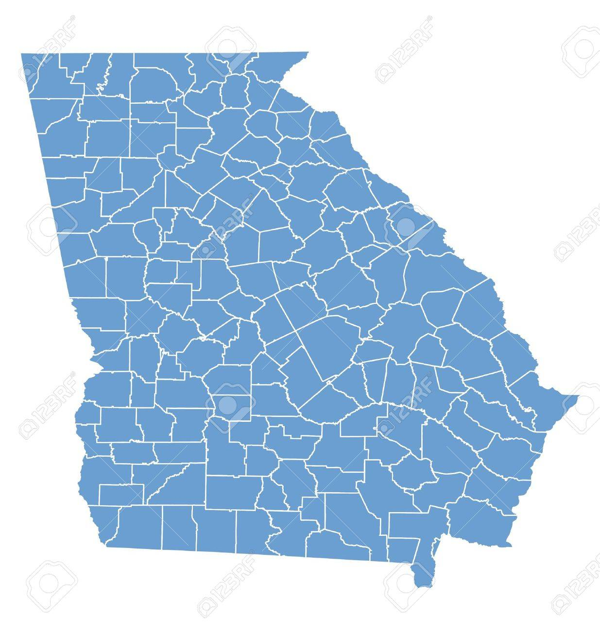 State Map Of Georgia By Counties Royalty Free Cliparts Vectors - Maps of georgia counties