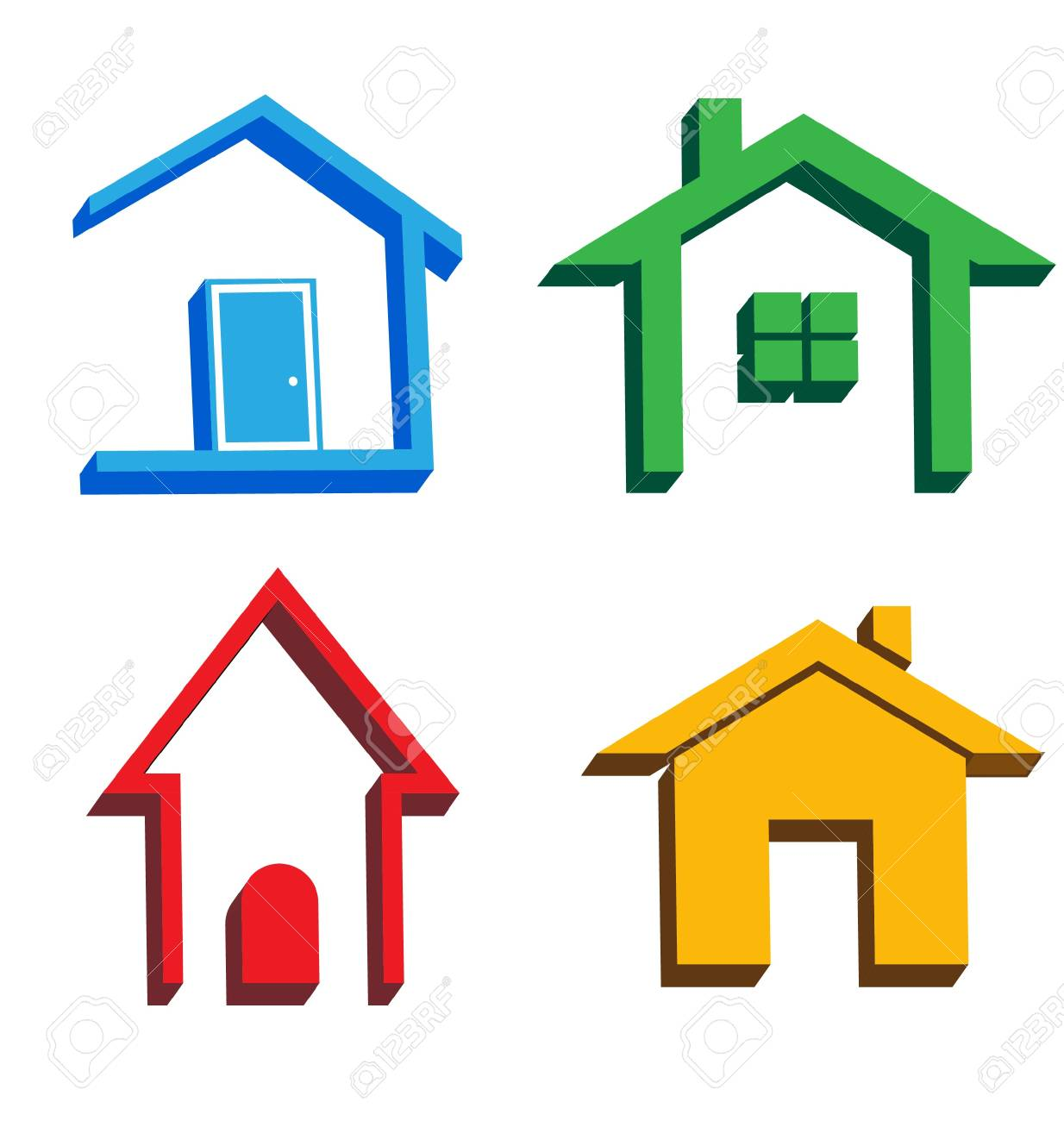 3D houses icons Stock Vector - 16052373