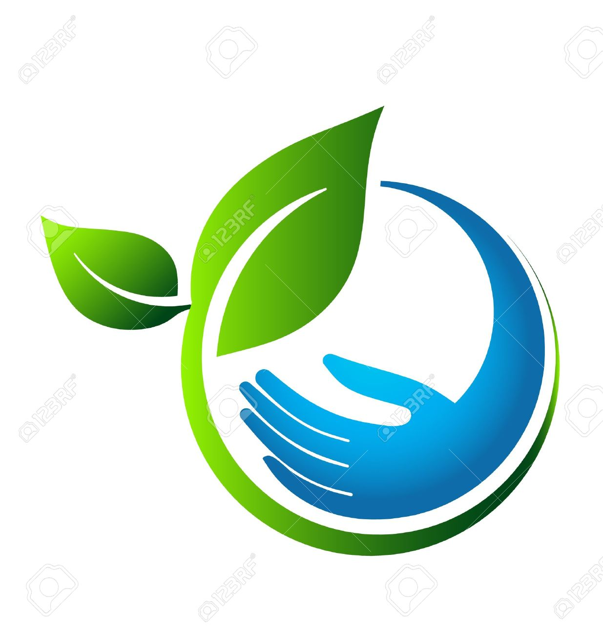 Green leaves eco hand Stock Vector - 19017734