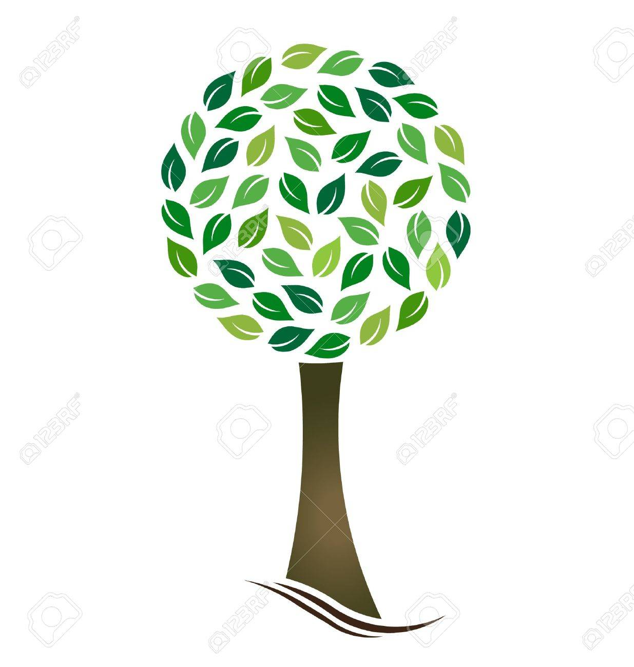 Tree with circled leaves Stock Vector - 19027978