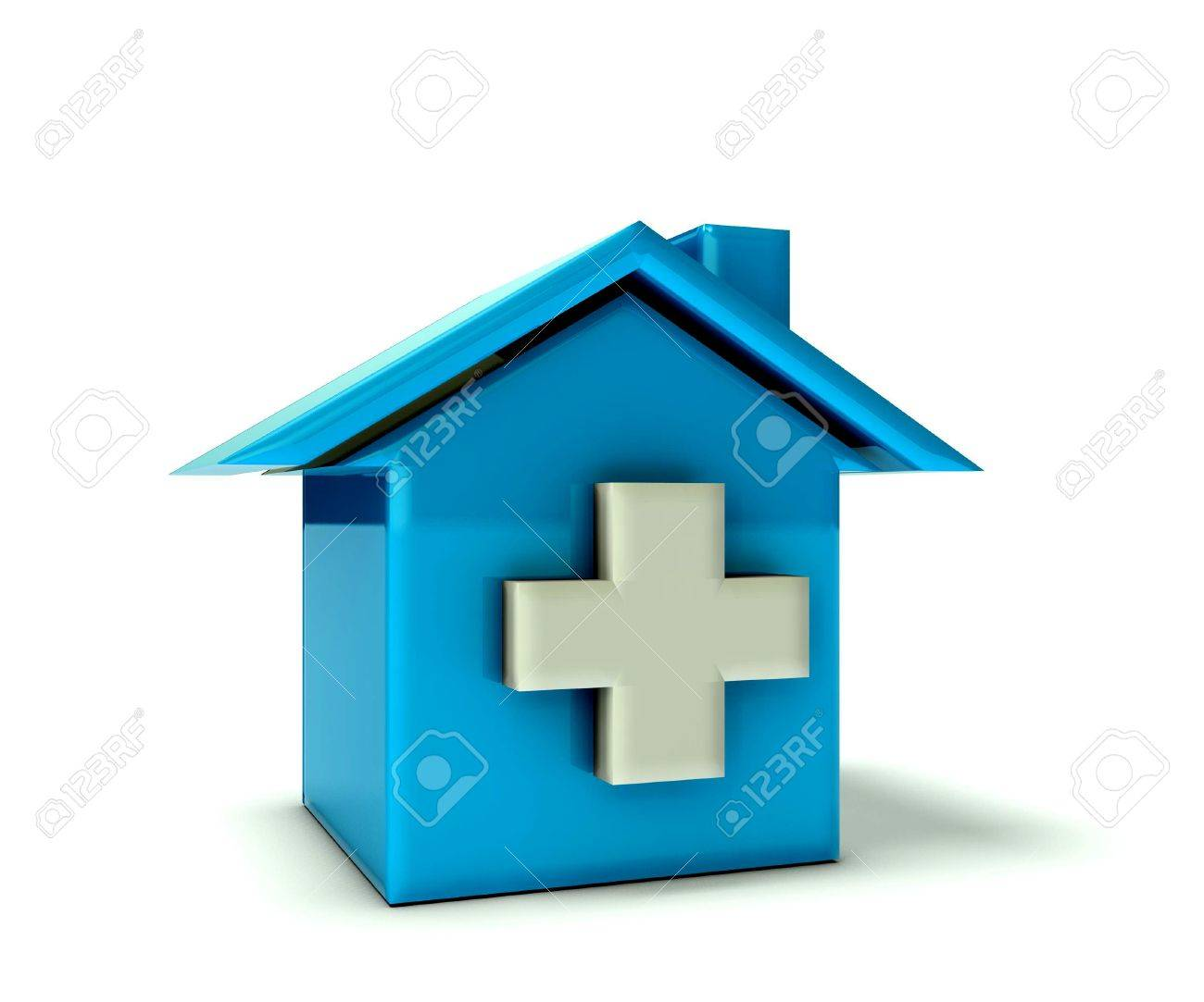 Blue house with cross Stock Photo - 20014652