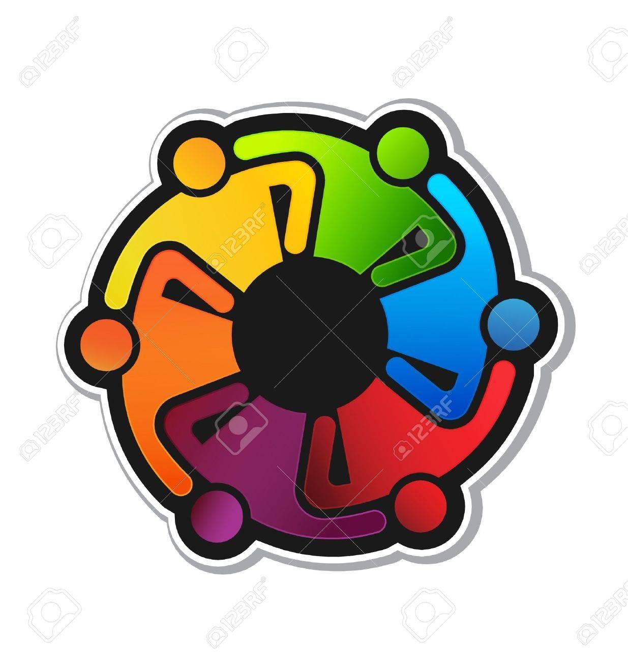 Teamwork Hugging 6 sticker Stock Vector - 22075958