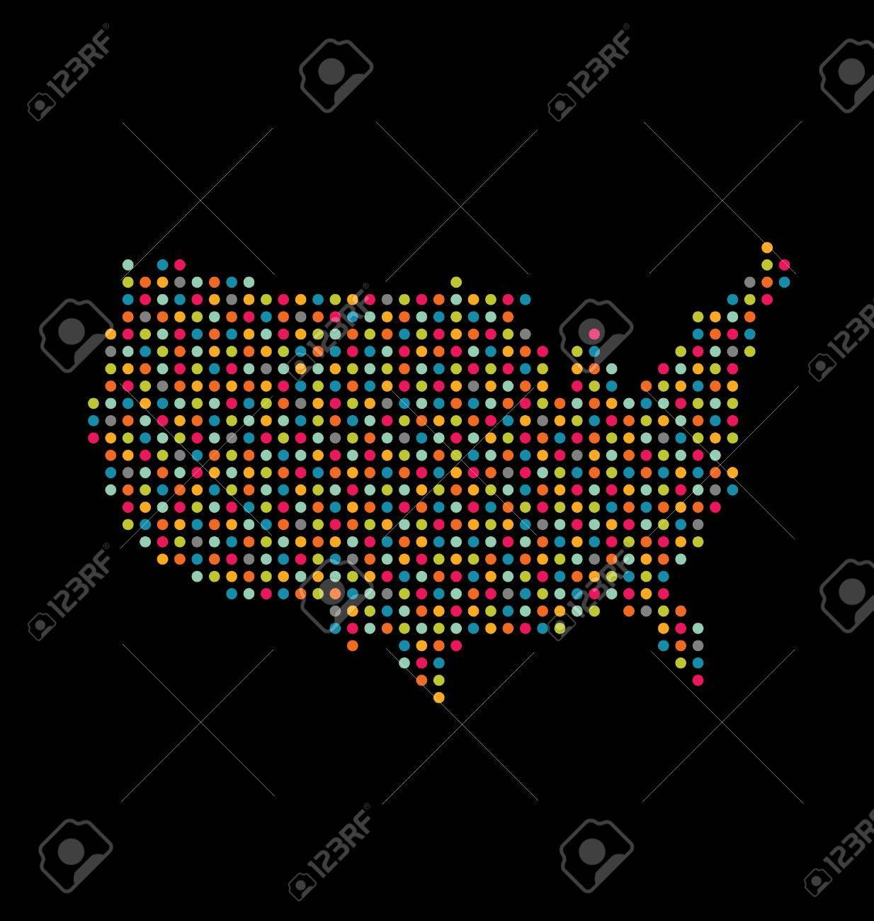 USA light dot map Stock Vector - 23962171