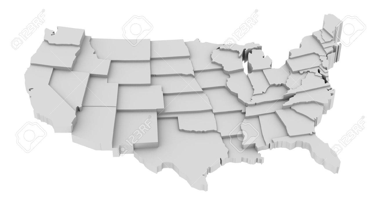 United States Map By States In Various High Levels Abstraction - Map of us stock