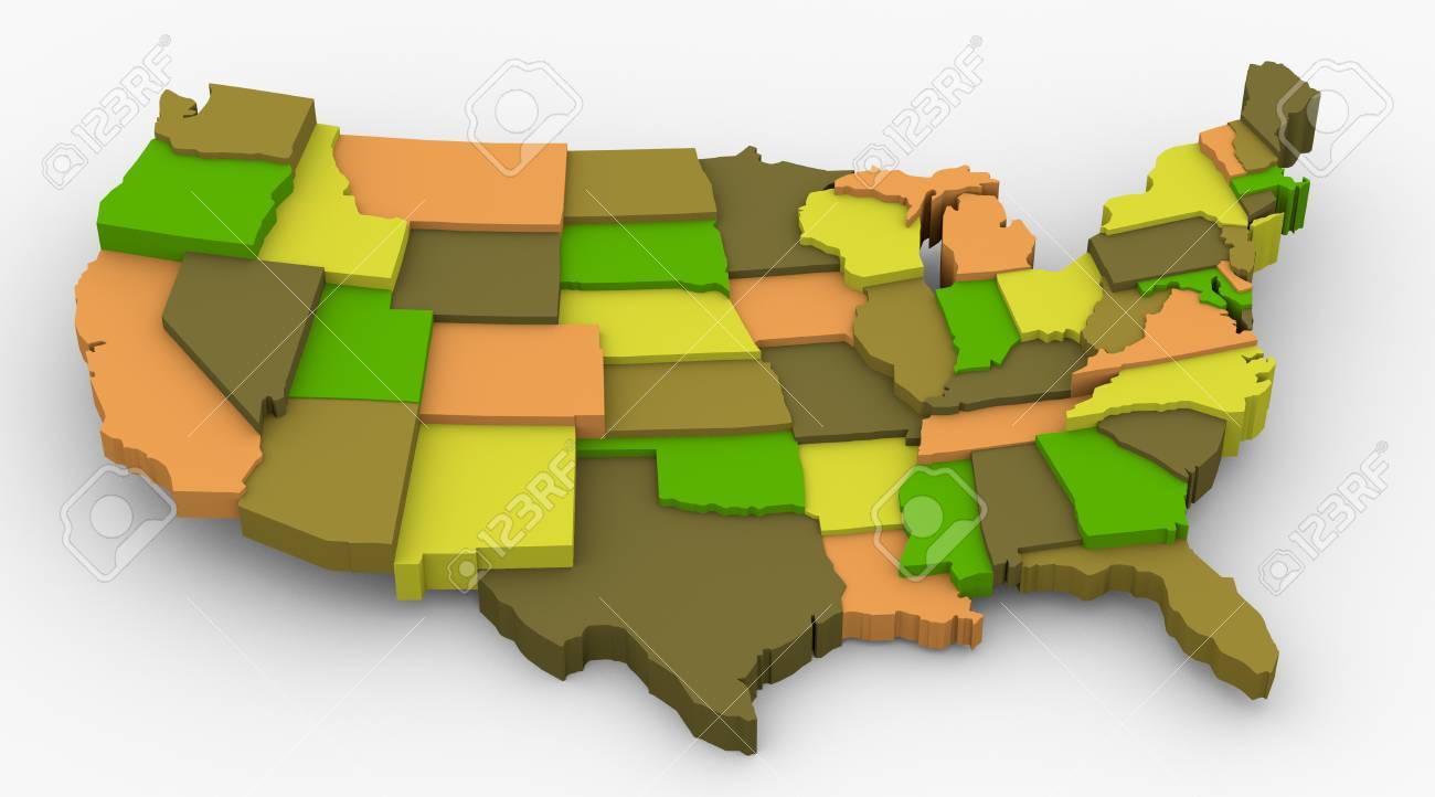 USA Earth Color Map Image Concept Color For Country City Popular - Usa country map