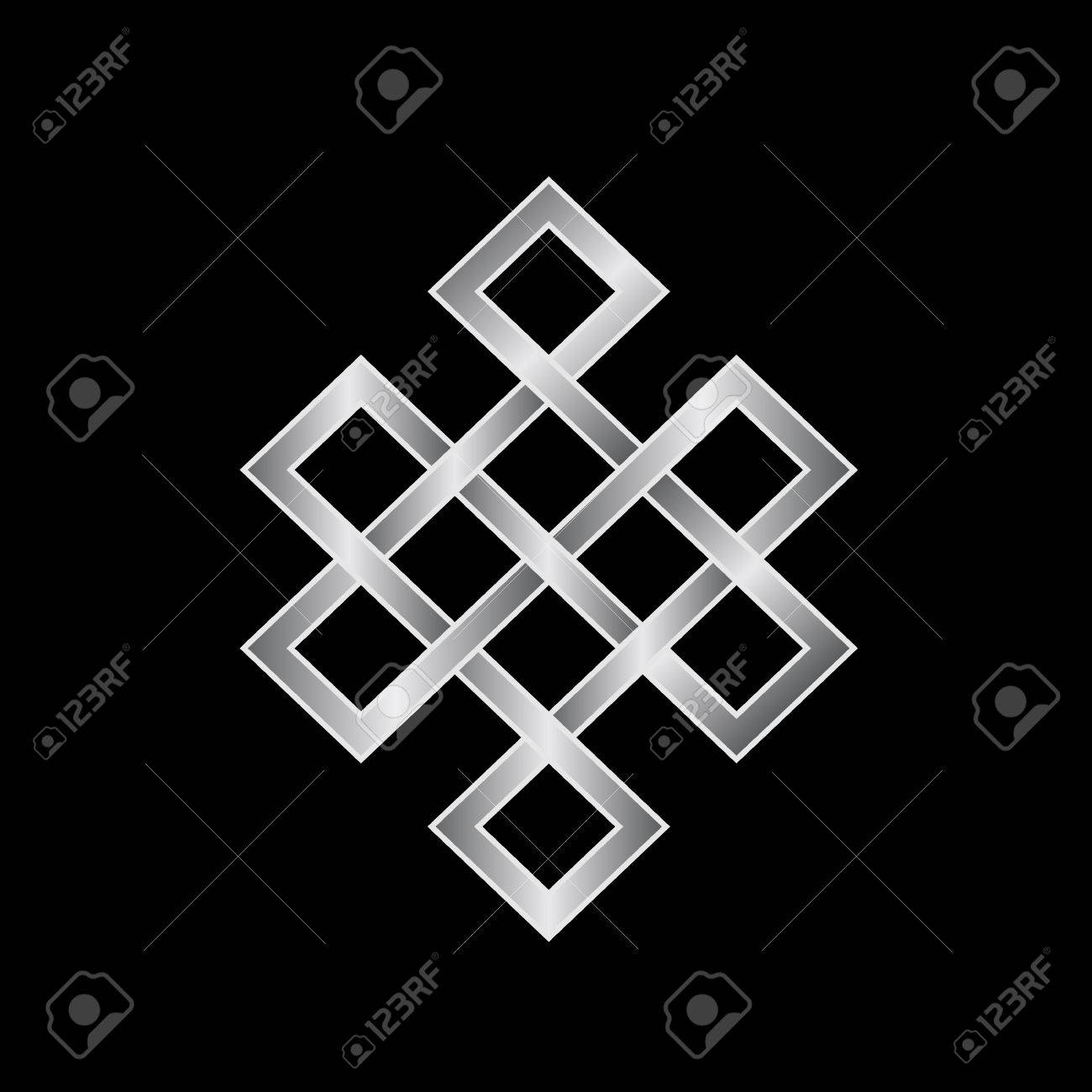 Platinum Endless Knot Concept Of Karma Time Spirituality Stock Vector