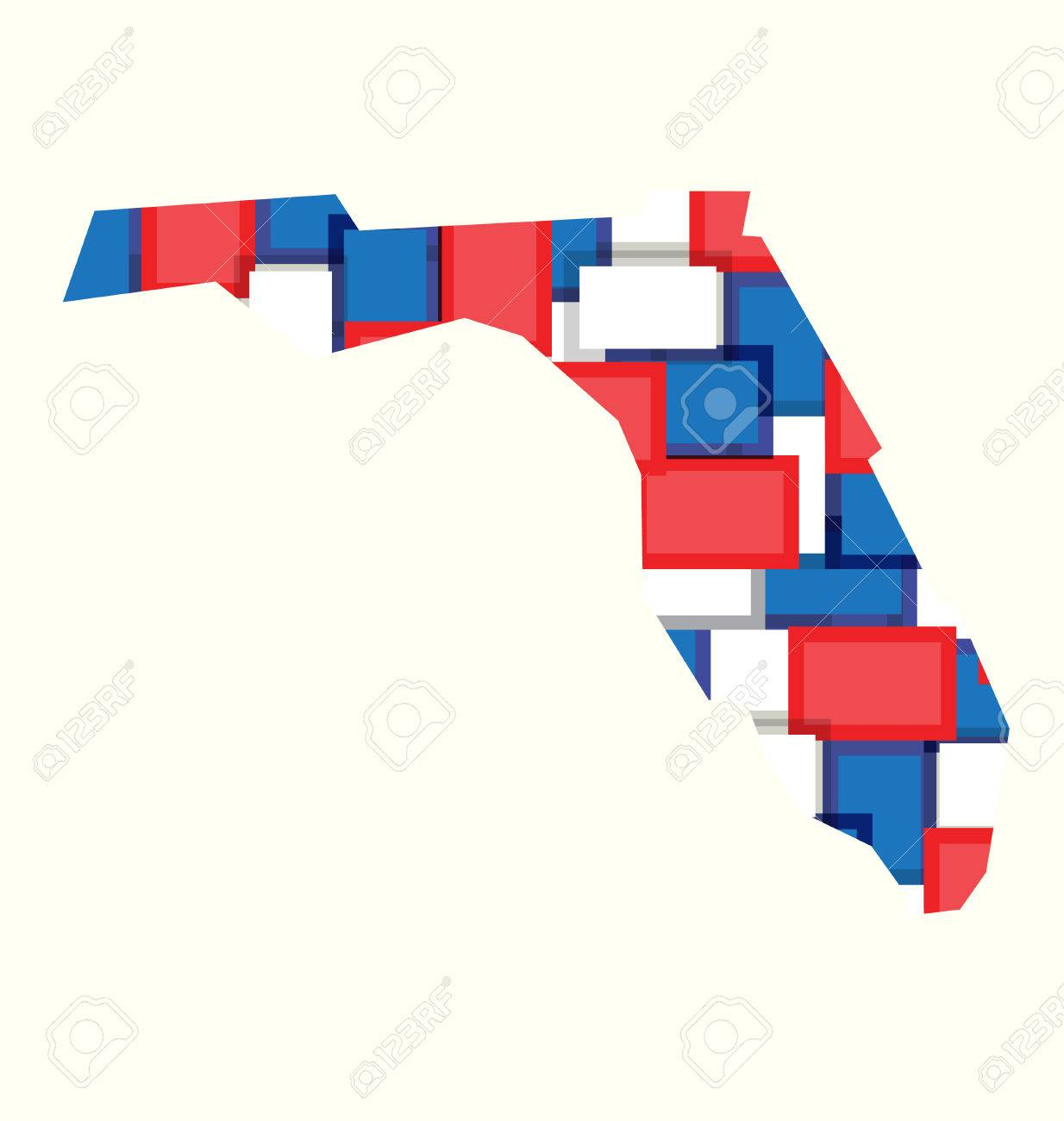 Florida Redwhiteblue Color Squares Map Concept Of Politics - Florida map to color