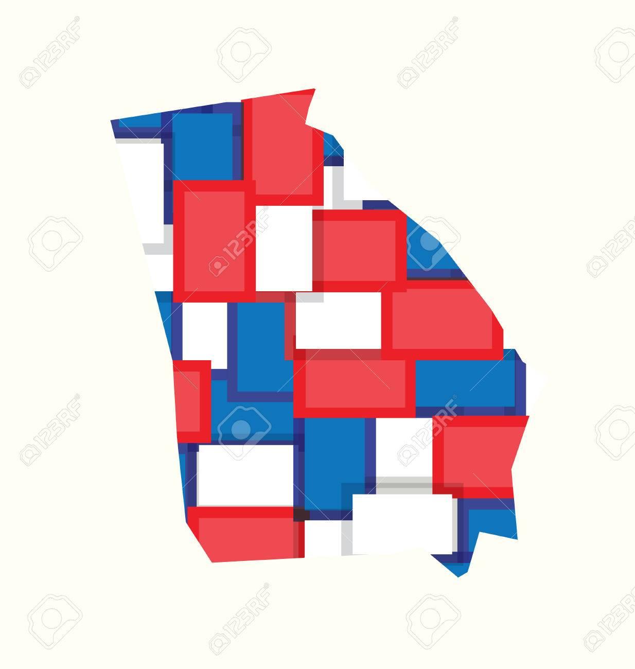 Georgia Redwhiteblue Color Squares Map Concept Of Politics - Georgia voting map