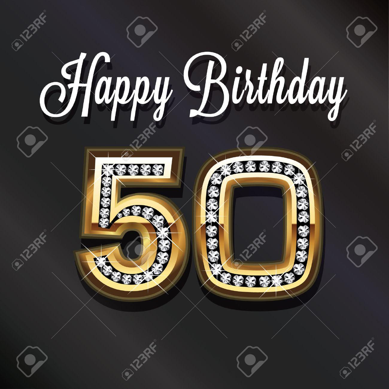 Immagini Stock 50 Buon Anniversario Compleanno Biglietto Di
