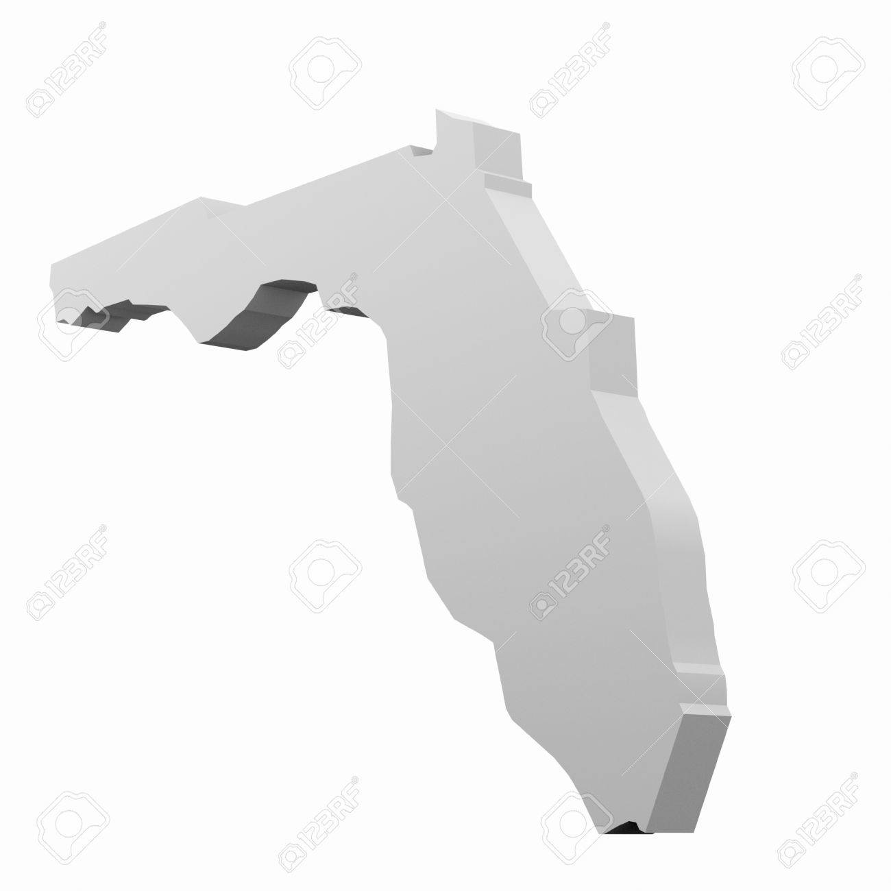 Florida D Map In White Stock Photo Picture And Royalty Free - Florida map black and white