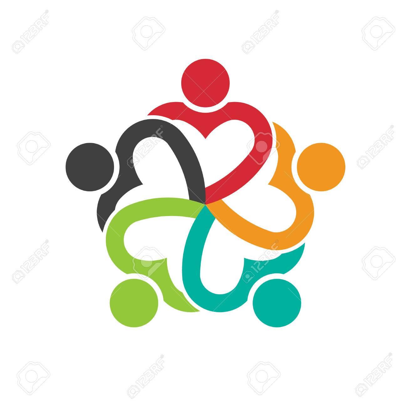 Teamwork 5 heart people social friendship - 37357056
