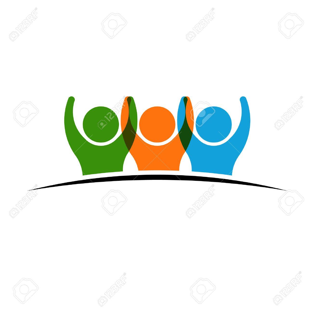 Tre persone si tengono per mano. Concetto di gruppo di persone, squadra felice, la vittoria Archivio Fotografico - 40574801