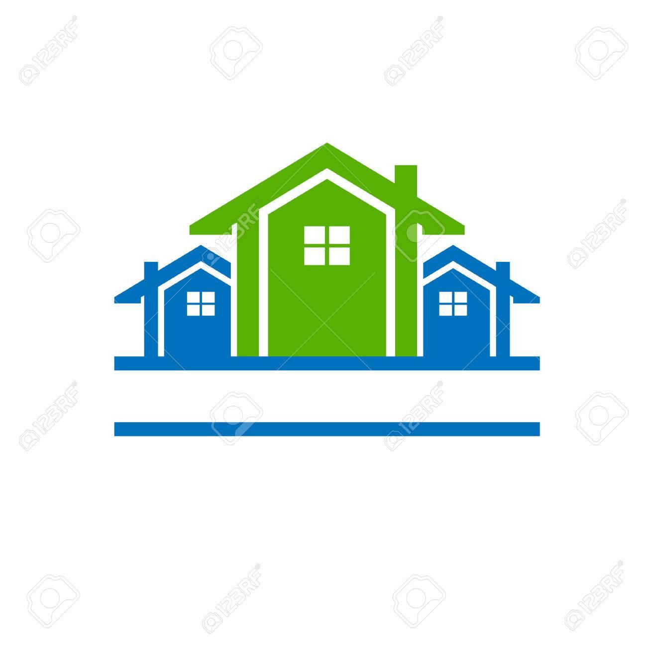 Tre ecohouses per il settore immobiliare Archivio Fotografico - 40574843
