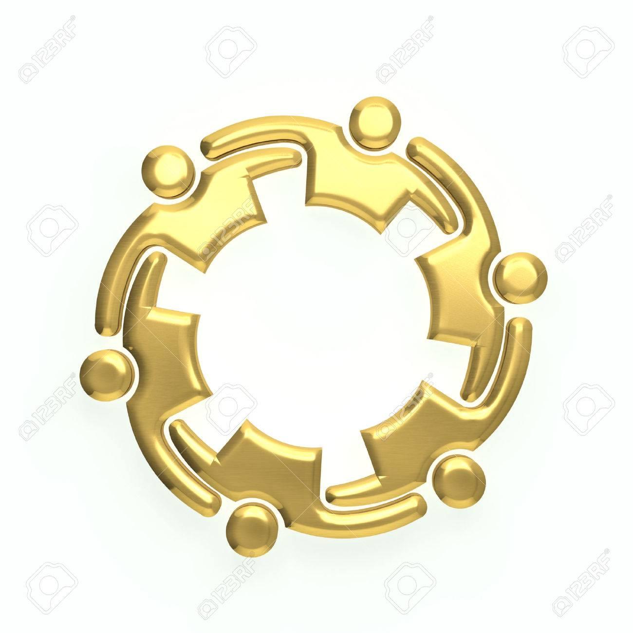 3D persone oro logo Archivio Fotografico - 41763284