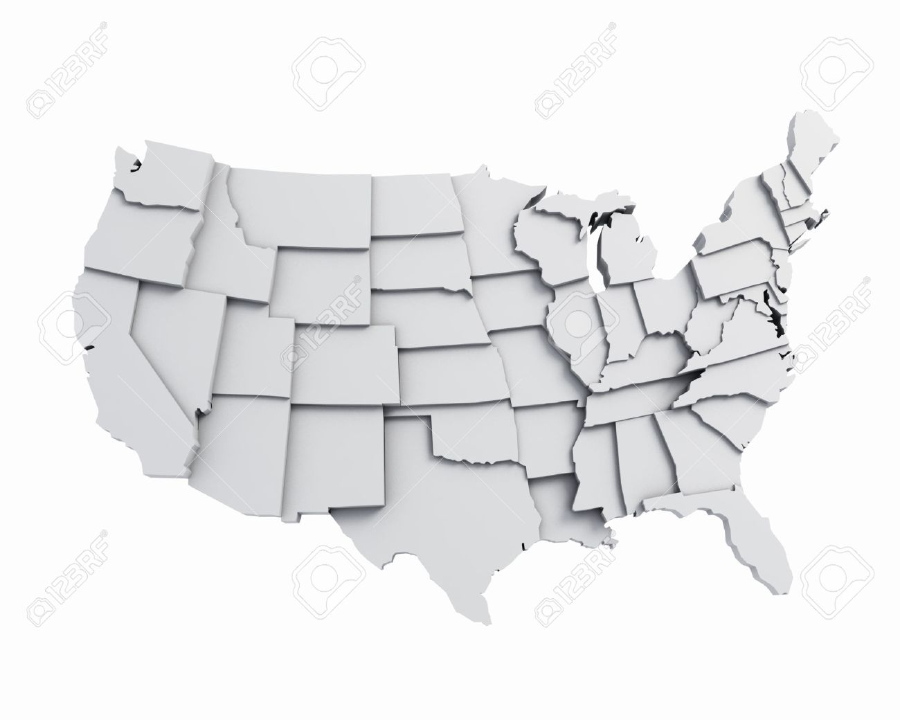 3D USA Map White Stock Photo, Picture And Royalty Free Image