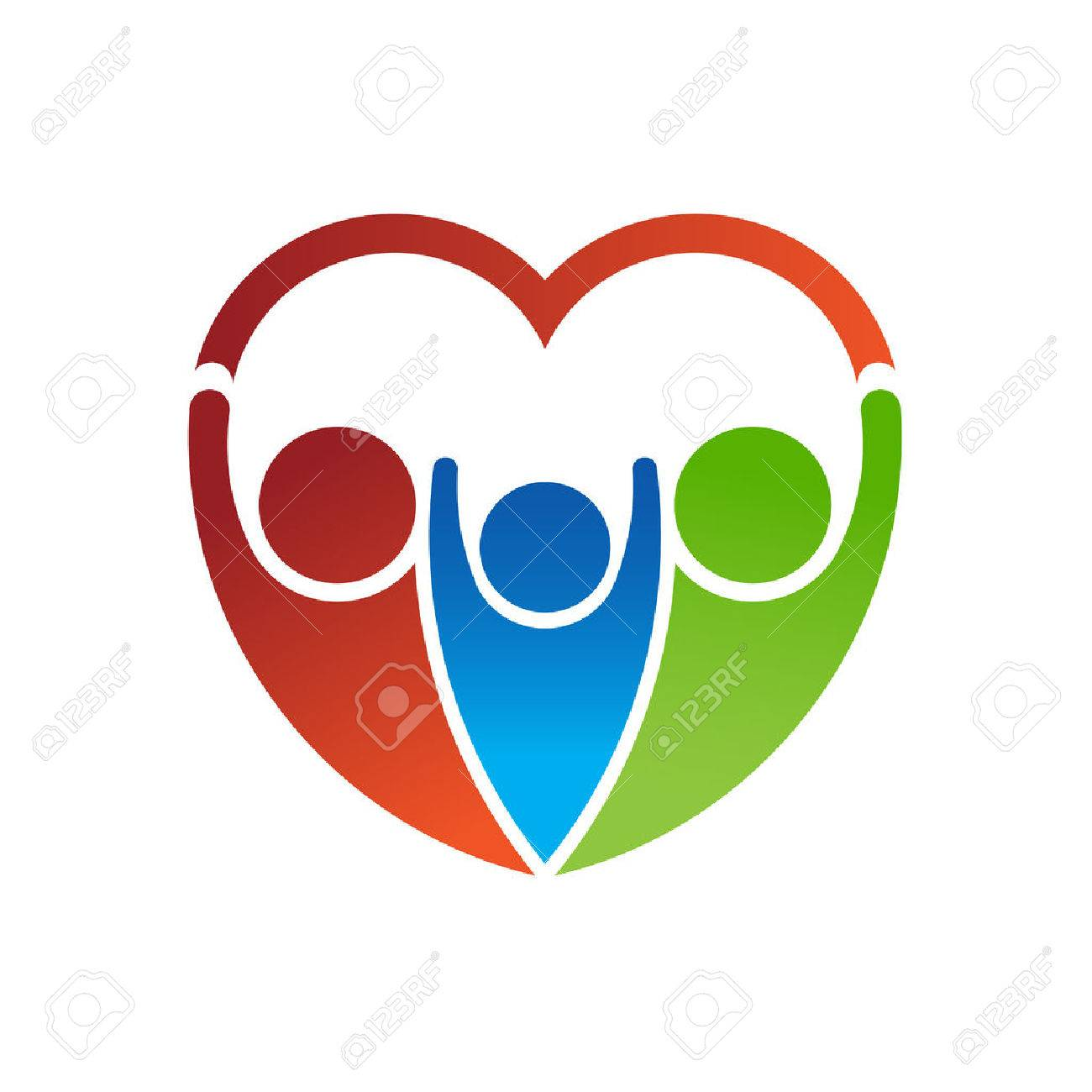 Group of people forming a heart. Family care concept Archivio Fotografico - 42091526