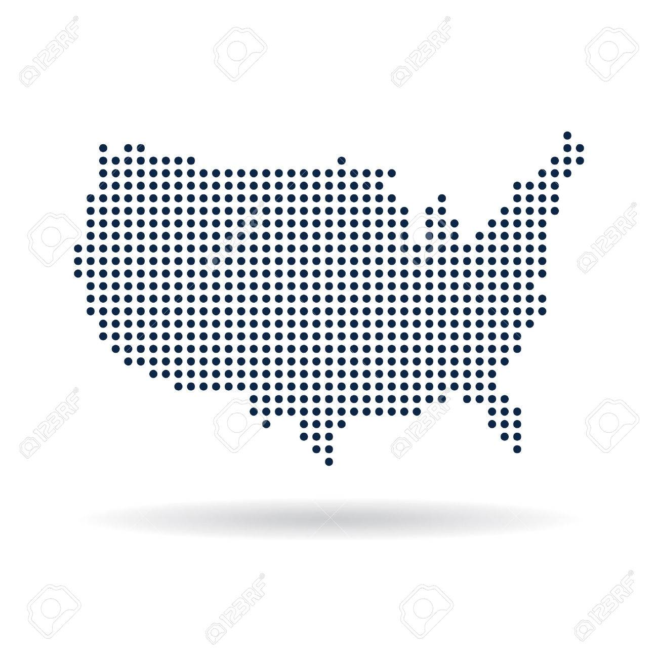Map Of Usa Vector.Usa Dot Map Concept For Networking Technology And Connections